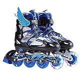 インラインスケート ローラースケート 発光 メッシュ 通気性抜群 大人 キッズ 子供用 初心者向け ローラーシューズ(blue/S)