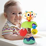 REMOKING Suction Base High Chair Interactive Rattle Toy, Swingable Owl with Baby Rattle,Developmental Tray Toy for Early Lear
