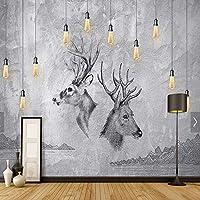 KAHSFA 3Dの壁紙 ヨーロッパの 抽象グレーELK動物写真の壁紙壁画HD壁紙ロールスロイス家の壁アート装飾的なWapiti壁画-200cmx140cm
