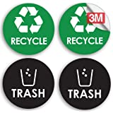 """(4"""" - 2 Trash, 2 Recycle) - Recycle Trash Bin Logo Sticker - 10cm x 10cm - Organise & Coordinate Garbage Waste from Recycling"""