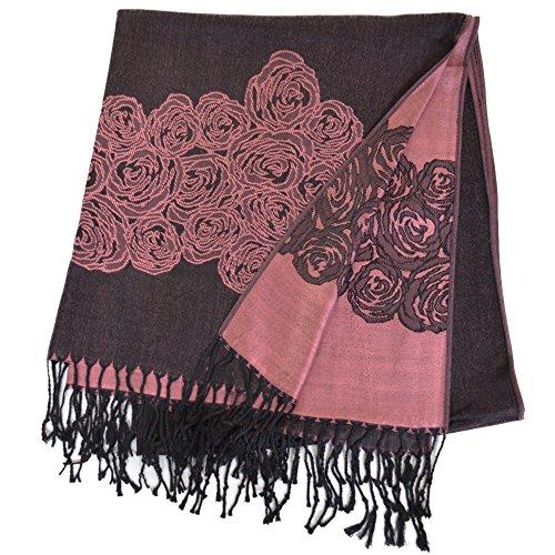 パシュミナ 素敵なローズ花柄 刺繍入り リバーシブル パシュミナストール (ブラック&ピンク )