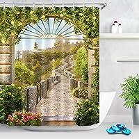 LB中世庭風景シャワーカーテンシャワーストール、花植物自然風景バスルーム装飾、70x 70バスルームのカーテン防水アンチ金型