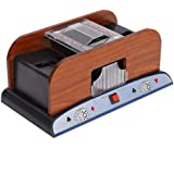 Card Shuffler Automatic, Wood Card Shuffler Automatic Battery Powered Playing Card Shuffler Machine for 2 Deck Poker, Great f