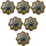 6Pcs European Style Knobs, Ceramic Glazed Pumpkin Knobs Classy Vintage Cabinet Drawer Handles Pulls (Green)