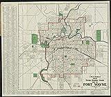 ヴィンテージマップ 1919 J.M.E. Riedelの新しいストリートナンバーガイドマップ フォートウェイン | 歴史的な壁装飾ポスター アート レプリカ 53in x 44in 5134490_5344_LEV1