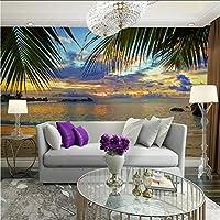 Lcymt トロピカルサンセットビーチココヤシの葉の写真の壁紙壁画リビングルームの家の装飾の壁紙3 D自己接着ビニール/シルクの壁紙-400X280Cm
