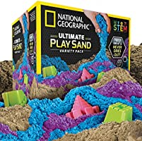 NATIONAL GEOGRAPHIC Play Sand Combo Pack - 2 LBS Each of Blue, Purple and Natural Sand with Castle Molds - A Kinetic...