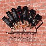 Homehalo ワインラック 壁掛け キッチン ダイニング バー カフェ用 ワイングラスホルダー 面白い掛け棚 飾り掛け 特別なデザイン (ブロンズ)