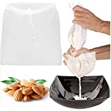 "2 Pcs Pro Quality Nut Milk Bag - Big 12""X12"" Commercial Grade - Reusable Almond Milk Bag & All Purpose Food Strainer - Fine M"