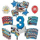 Mayflower Products きかんしゃトーマス タンクエンジン 3歳の誕生日パーティー用品 16種類のゲスト用デコレーションキットとバルーンブーケ