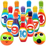 SODIAL Kids Foam Bowling Set , 10 Indoor Colorful Soft Pins 2 Bowling Balls,Toddlers Toys Printed with Number,Sport  Baby Boy