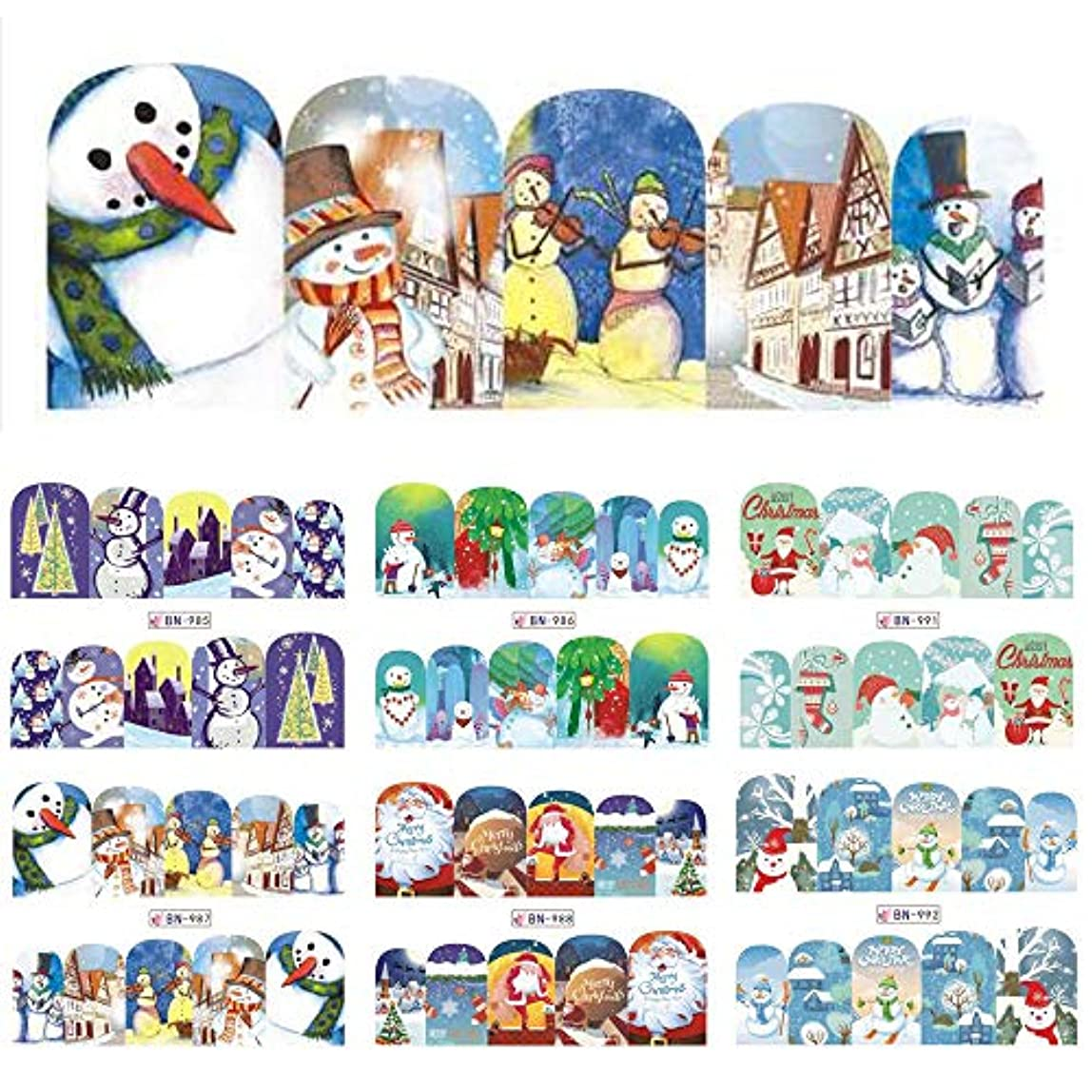 常習的稚魚蒸し器SUKTI&XIAO ネイルステッカー ネイルアートの装飾の入れ墨のための12個の雪だるまフルラップデザイン水転写スライダー