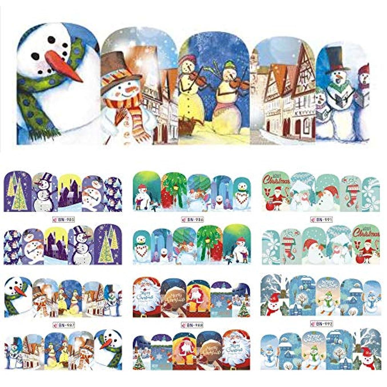 例外キャリア篭SUKTI&XIAO ネイルステッカー ネイルアートの装飾の入れ墨のための12個の雪だるまフルラップデザイン水転写スライダー