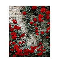 番号キットテーマデジタルペインティングキャンバスキット誕生日結婚式の宿泊先のクリスマスの装飾の装飾ギフト、フラムと 40 × 50 cm の花の景色 Diy 絵画の数のキットには、工場の壁にペイント