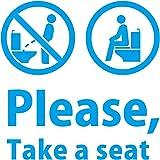 トイレ シール ステッカー 座って 英語 Please, Take a seat(洋式トイレに座って使用のお願い)カッティングステッカー・シール サイズ150mm 光沢タイプ・耐水・屋外耐候3~4年 (青)