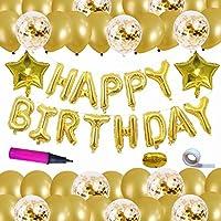 Magic House 誕生日 飾り付け 風船 セット ゴールド 紙吹雪入れバルーン アルミバルーン 華やか おしゃれ バースデー デコレーション ハンドポンプ、リボン、両面テープ付き
