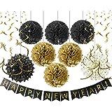 Happy New Year パーティーデコレーション Happy New Year バナー ブラック ゴールド ティッシュペーパー ポンポン 金箔 渦巻き ガーランド ペーパーファン ハンギング 装飾 年越しパーティー/誕生日装飾/ブライダルシャワー用
