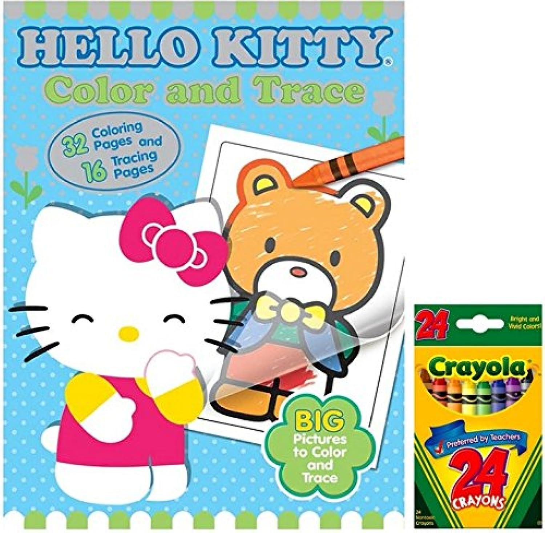 Hello Kitty色とトレースColoring Book with 48ページの大きい画像Plus 24 ct Crayolaクレヨン