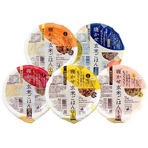 結わえる 寝かせ玄米 レトルトパック 5種食べくらべ計12個入(小豆・黒米・はと麦・もち麦・十五穀ブレンド)寝かせ玄米ごはん