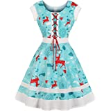 Wellwits Women's Lace-up Deer Candy Snowflake Tree Christmas Vintage Dress
