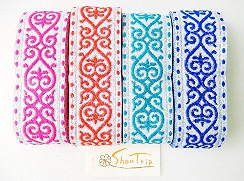 ShanTrip 大容量 約 7〜8m アイヌ風 チロリアンテープ 手芸用 刺繍リボン (ブルー)