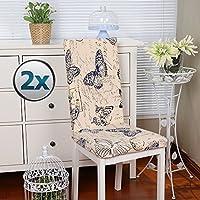 椅子カバー チェアカバー スツールチェアカバー 印花柄 柔らかい 取り外し可能 洗える ダイニングチェア カバー ウェディング パーティー ホテル ルーム用 (2個, バタフライ)