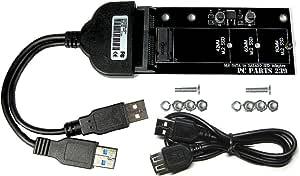 M.2 SATA SSD to ダブルパワーUSB3.0 or SATA 22pin 変換アダプタ 延長ケーブル付き PC PARTS 239 1年保証 - NVMe,AHCI SSD使用不可