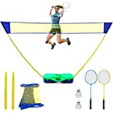 NSEN Badminton Set, Badminton Sets for Backyards, Portable Badminton Net with Storage Box Base, Badminton Net with 2 Rackets