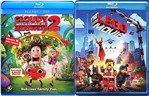 Cloudy with a Chance of Meatballs 2 & The lego Movie - Blu Ray + DVD Cartoons awesome Animated Set