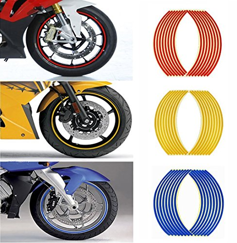 MyArmor 反射 リム ステッカー 3色 各1セット バイク3台分 17 18インチ両用タイプ ホイール 反射シート バイク/スクーター/自転車用 文字なし 無地(レッド・ブルー・イエロー)
