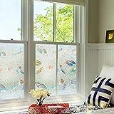 Rabbitgoo 窓 めかくしシート ガラスフィルム 目隠しシート ステンドグラス 貼ってはがせる 外から見えない おしゃれ (夢の間 90 x 200cm)