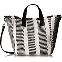 Steve Madden Rumi Multi Colored Woven GEOMTRIC Pattern Beach Tote with Zipper Pouch