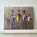 インテリア 動物 色とりどりのシマウマ 絵画 壁掛け キャンバス製 壁キャンバス絵画 壁アート(木枠なし)75*50cm*1