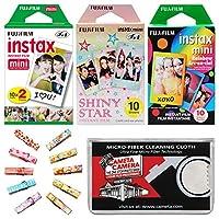 Fujifilm Instax Mini Starter値パックフィルム(40色プリント) with木製ペグクリップ+クリーニング布キット