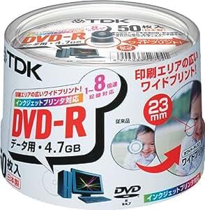 TDK DVD-Rデータ用 1-8倍速対応ホワイトプリンタブル(ワイド)50枚パック[DVD-R47PWDX50PK]