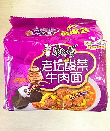 中華インスタントラーメン 焼き牛肉入り 92g×5セット  (康師傅老譚酸菜牛肉面)