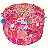 Traditional India Indian Vintage Patchwork Ottoman Pouf Indian Living Room Pouf Foot Stool Round Ottoman Cover Pouf Floor Pil