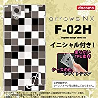 F-02H スマホケース arrows NX ケース アローズ NX ソフトケース イニシャル スクエア グレー nk-f02h-tp1016ini T
