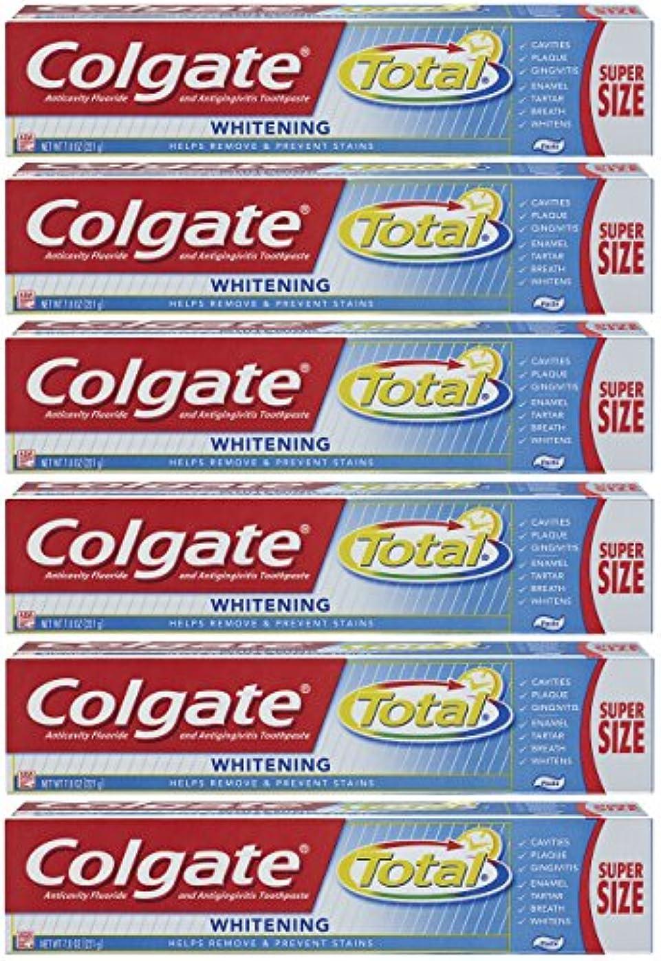 真夜中ポンプ光Colgate トータルプラスホワイトニングの歯磨き粉、7.8オンスチューブ(6パック)