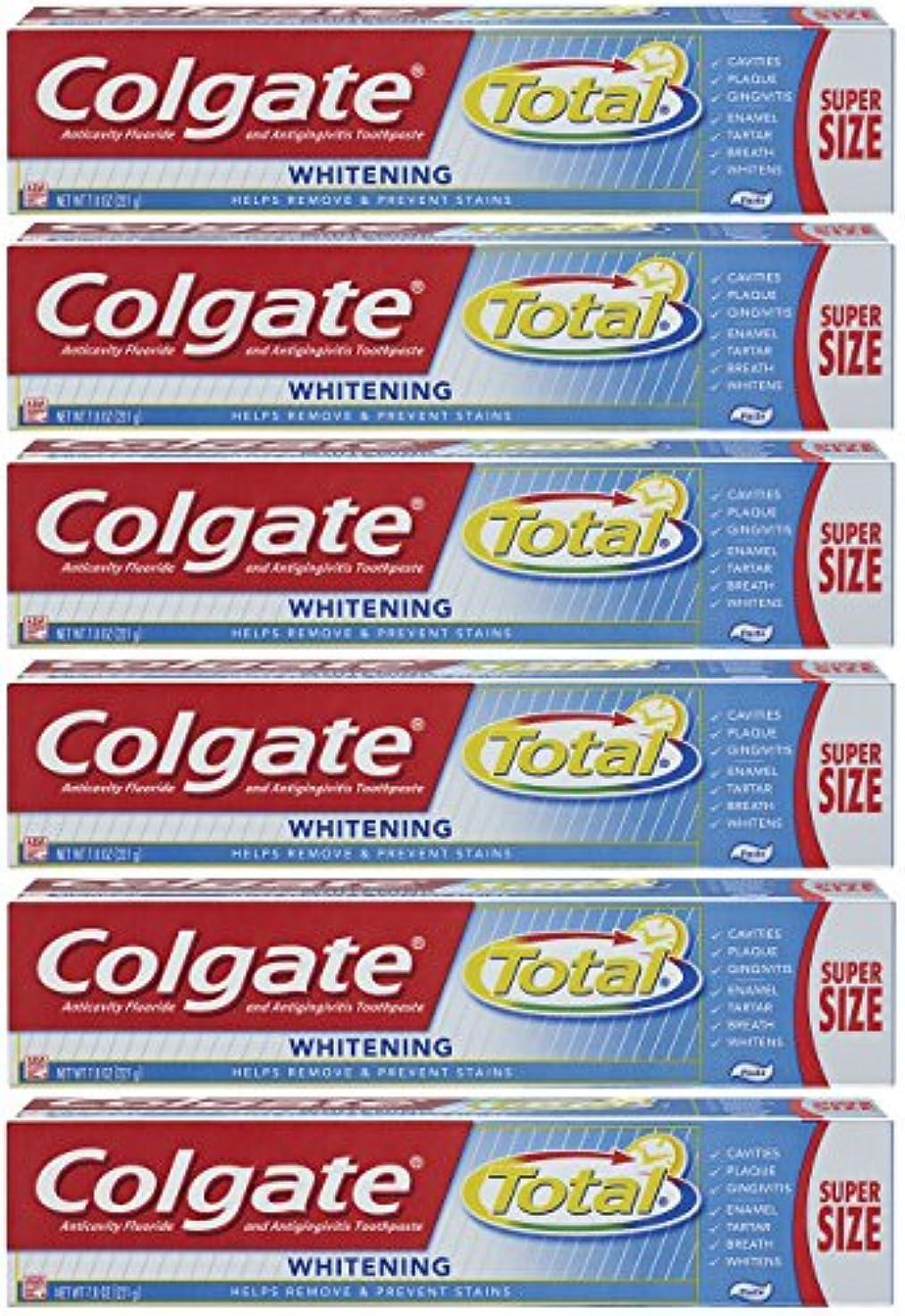 人間和らげる乱用Colgate トータルプラスホワイトニングの歯磨き粉、7.8オンスチューブ(6パック)