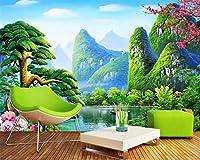 Ansyny 壁紙中国の風景画緑の風景壁画家の装飾リビングルームベッドルーム-360X250CM