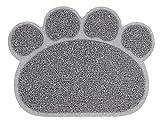PetStyle ペット用 ランチョンマット トイレマット エサ皿 マット お食事マット 肉球型 Sサイズ(グレー)