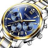 GuTe出品 腕時計 クォーツ メンズ 夜光 クロノグラフ 日付 ステンレスバンド ビジネス ロイヤルブルー ストップウォッチ