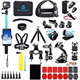 Homesuit 60-In-1アクションカメラ アクセサリーセットfor GoPro Hero 10 9 8 7 6 5カメラ4 3 3 2 1Black, SJ4000 SJ5000 SJ6000 SJ7000, DJI OSMO, DBPOWE