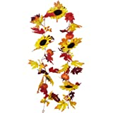 Fall Maple Leaf Garland with Sunflower Pumpkin Berries Harvest Garland Artificial Autumn Foliage Ivy Faux Fall Leaves Hanging