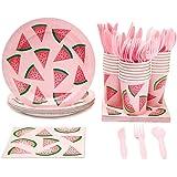 Juvale Summer Watermelon Design Disposable Party Supplies - Plates, Utensils, Napkins, Cups, Serves 24