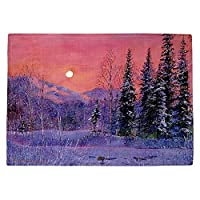 DIANOCHEキッチンPlaceマットby David Lloyd Glover – Rising雪Moon Set of 4 Placemats PM-DavidGloverRisingSnowMoon2