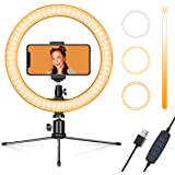 """Ring Light 9"""" with Tripod Stand & Phone Holder for Streaming & YouTube Video, Dimmable Desk LED Ring Light for iPhone, Makeup"""