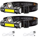 2 Pack LED Headlamp Flashlight S500 - Running, Camping, and Outdoor Headlight Headlamps - Head Lamp with Red Safety Light for