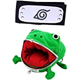 Naruto Anime Cute Plush Frog Coin Purse with Headband for Halloween Cosplay Ninja Themed Party, Toys Green